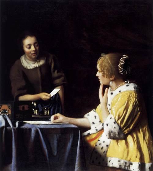 1667 Lady avec servante lui tendant une lettre