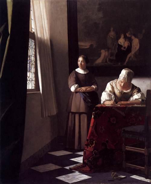 1670 Jeune femme écrivant une lettre et sa servante